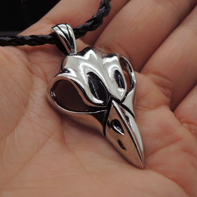 Raven Crow Skull Pewter Wiccan Pendant Free Necklace PP#296
