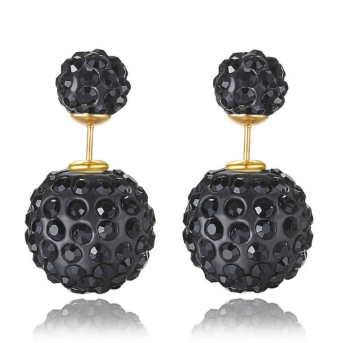 Fashion Women Gold Filled strass couleurs recto-verso Boule Clous D/'Oreilles