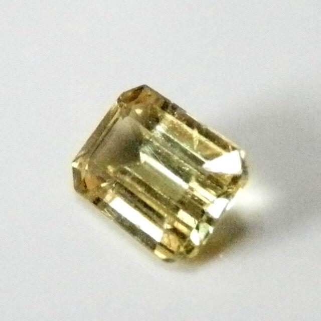 Australian natural yellow/green emerald cut sapphire...0.7 carat