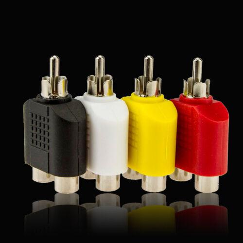 40x RCA Y Splitter AV Video Plug Converter 1-Male to 2-Female Cable Adapter New