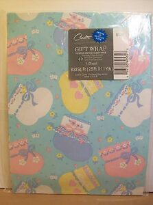 Carlton Cards Baby Gift Wrap Wrapping Paper New Shower Booties Socks