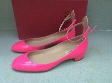 NIB AUTH Valentino Tango Mary Jane Neon Pink Patent Leather shoes Sz 39