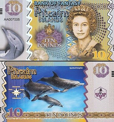 PITCAIRN ISLANDS FIFTY POUNDS 2018 UNC CENTROPYGE LORICULA,QUEEN ELIZA FUN NOTE