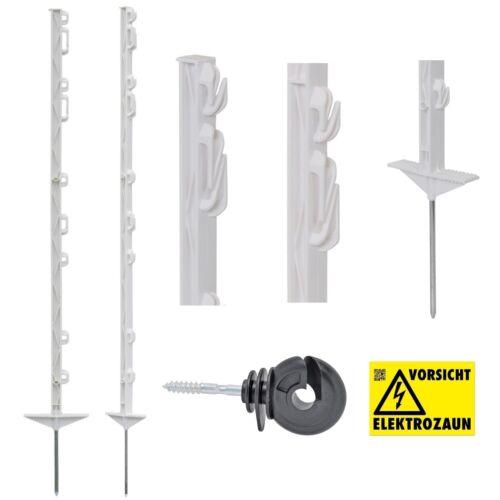 100x 125cm Weidezaunpfähle Weidezaunpfahl Koppelpfahl weiß mit GRATIS Isolatoren