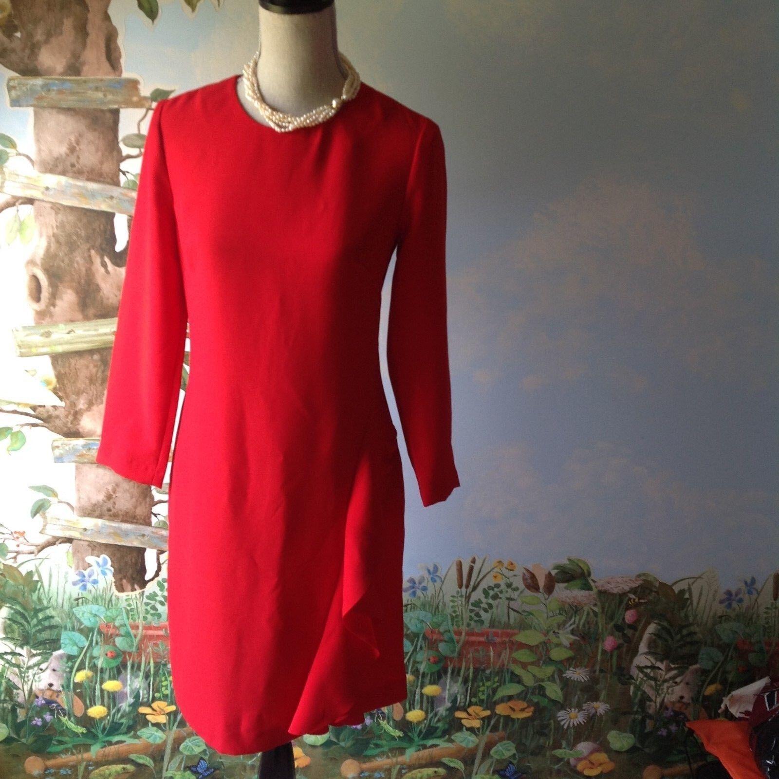 Banana Republic rot Long Sleeve Ruffle Dress Größe 2