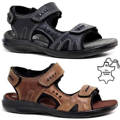 Clever New Mens Leather Summer Sandals Walking Hiking Trekking Trail Sandals Shoes Size