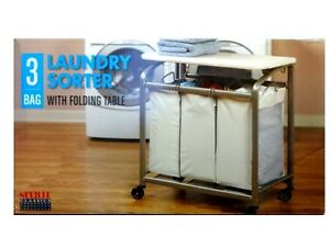Seville-Laundry-Sorter-3-Bag-with-Folding-Table