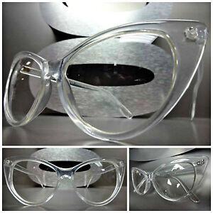 4883219061 VINTAGE RETRO 60s CAT EYE Style Clear Lens EYE GLASSES Transparent ...