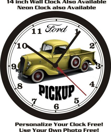 1937 FORD PICKUP TRUCK WALL CLOCK FREE ISA SHIP-NEW!