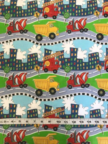 Transport FQ Fat Quarter Fabric Tractor Digger Fire Engine 100/% Cotton Quilting