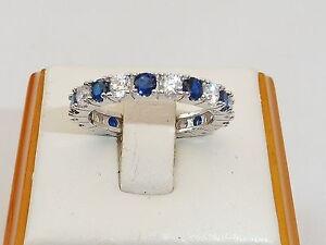Damen-Hand-Made-Sterling-925-Silber-Blau-und-Weiss-Saphir-Full-Eternity-Ring