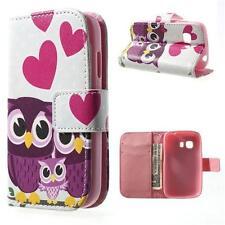 Schutz Tasche Hülle Flip Cover f Samsung Galaxy Young 2 EULE HERZ PINK BUNT 91D2