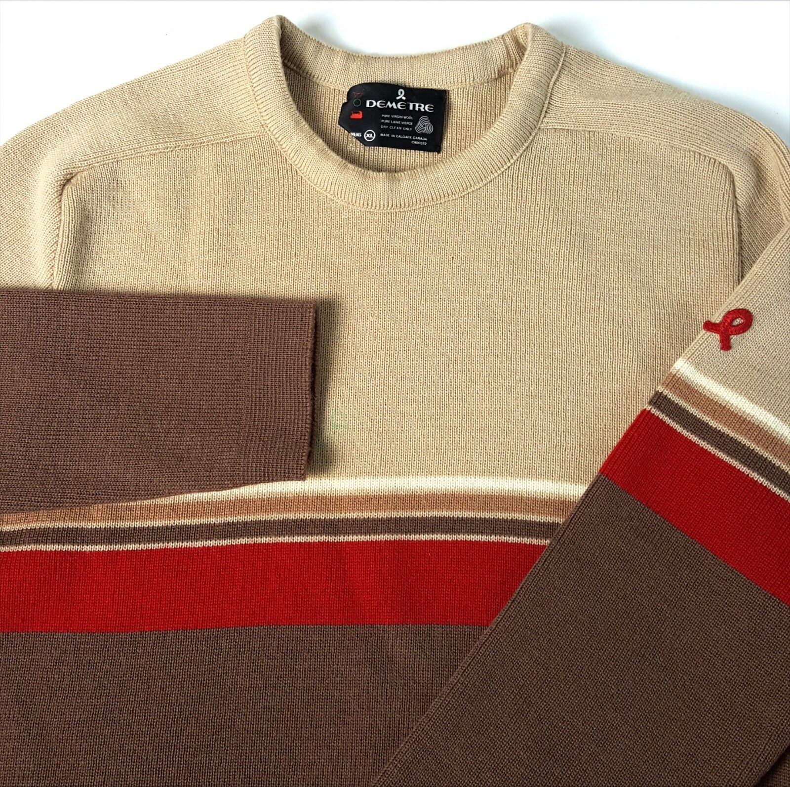 VTG Demetre Med Pure Wool Ski Sweater Beige Burgundy MADE CANADA