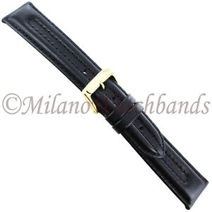 20mm-Speidel-Black-Tunnel-Padded-Genuine-Leather-Thick-Stitched-Mens-Band-944730