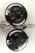 "PAIR LED HEADLIGHTS LAND ROVER DEFENDER BLACK 7""E marked LED headlights Pair E62"