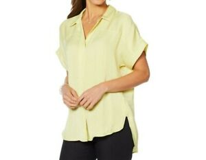 Vince-Camuto-Women-039-s-Oasis-Bloom-Popover-Blouse-Top-Solid-Mint-Lime-X-Large-Size