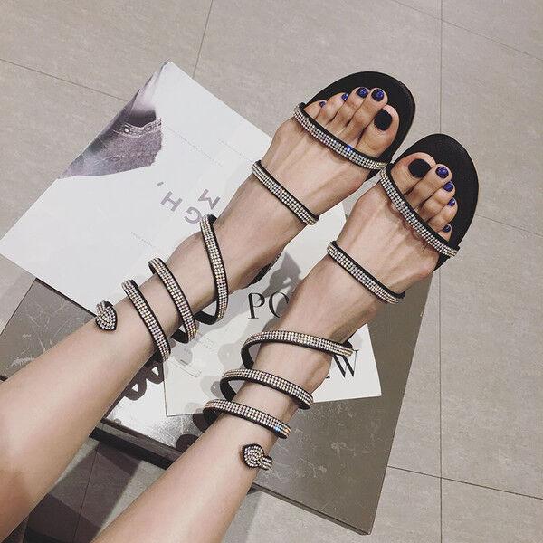 Sandali 1 cm eleganti noir strass quadrato basso sandali simil pelle 1170