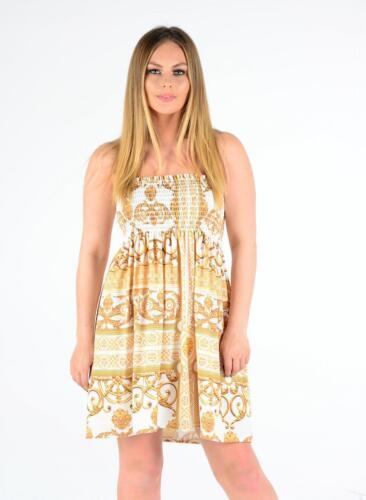 Ladies Printed Sheering Bandeau Boob Tube Summer Beach Top Mini Dress Plus Size