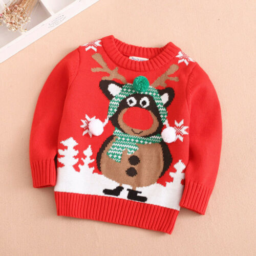 Toddler Kids Baby Boy Girl Long Sleeve Sweater Deer Christmas Cartoon Knit Tops