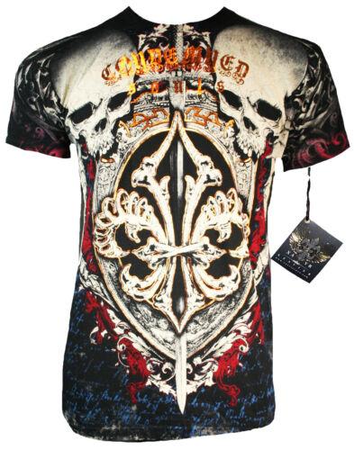 judged skulls Xzavier t-shirt Motard Harley rocker gothique tribal ufc MMA wings