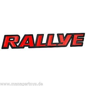 Auto-3D-Relief-Schild-roter-RALLYE-Aufkleber-Rally-rot-18-x-3-cm-original-1982
