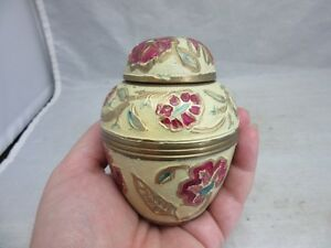 Brass-mini-ginger-jar-trinket-box-Hand-painted-flowers