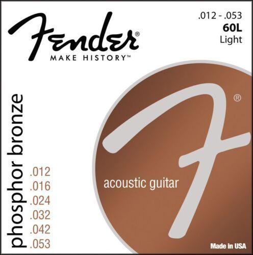 Fender 60L Phosphor Bronze Acoustic Guitar Strings light gauges 12-53