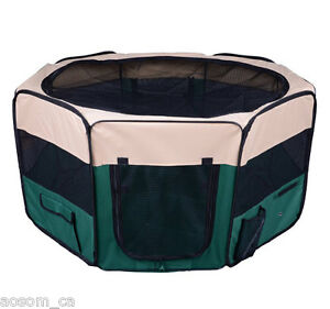 PawHut Pet Pen Folding Playpen Cage Tent Kennel Soft Exercise Crate Green