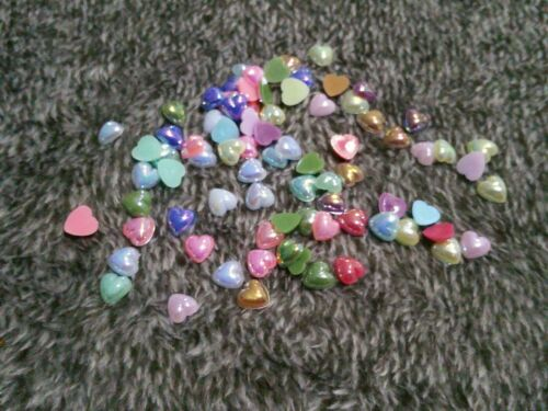 80 X 8mm Flatback Multi Coloured AB Hearts