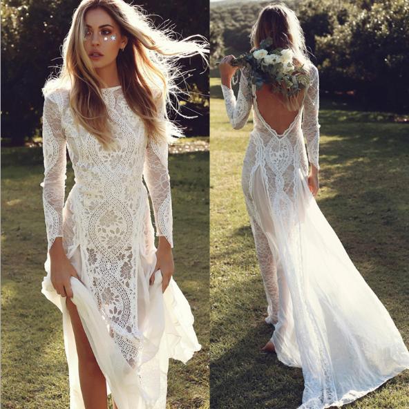 2019 Simple Long Sleeves Wedding Dresses Knee Length A Line Dress Custom Satin For Sale Online Ebay