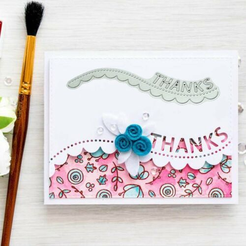 Thanks Wavy Lace Metal Cutting Dies Stencil Scrapbooking Card Embossing C d #xk