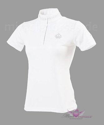 Equi Theme Crystal Crown Turniershirt Poloshirt mit Strass weiss Damen Kinder