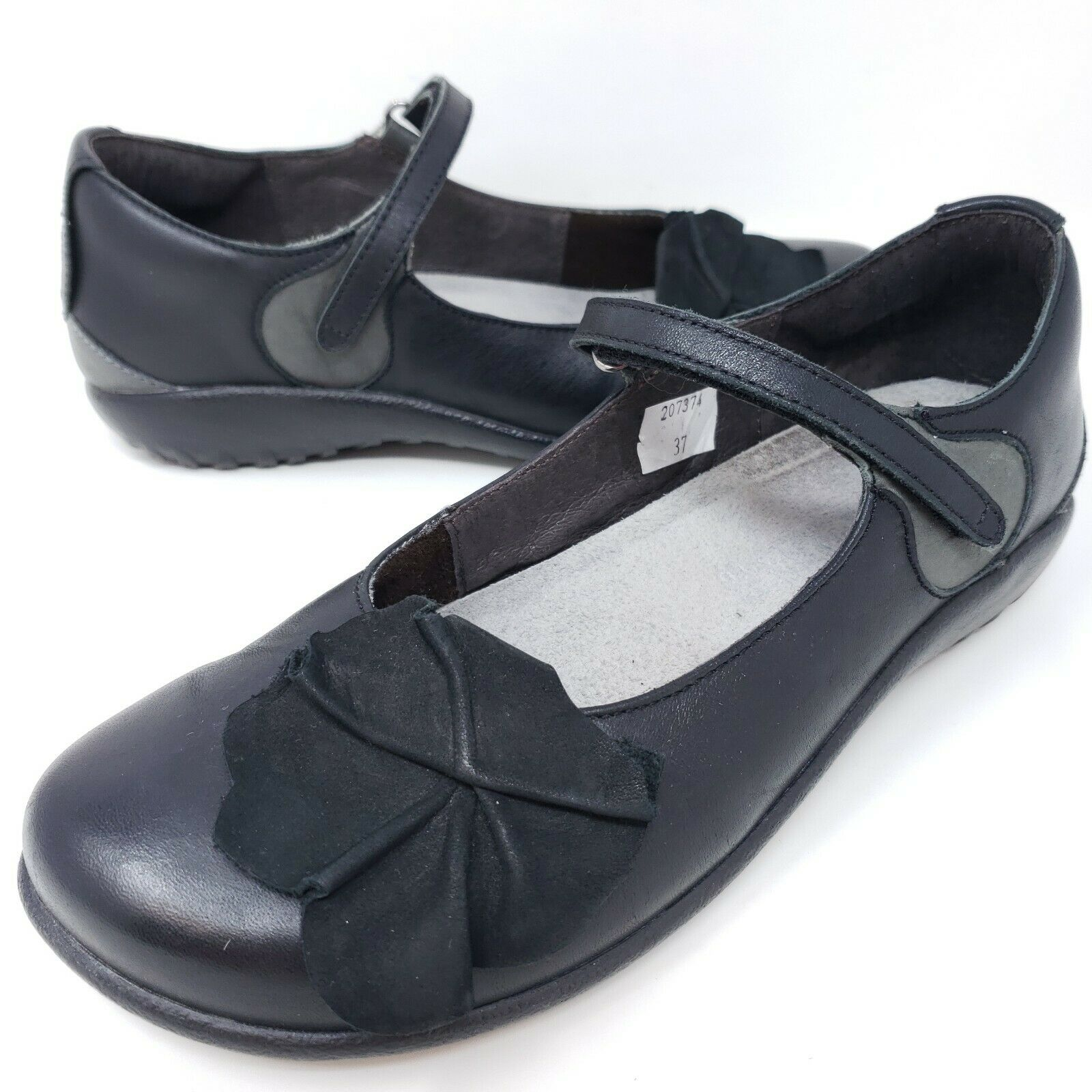 Naot Women's Mary Janes Black Leather Floral Granny Comfort Shoes Flower Sz 6
