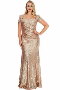 Gold-GODDIVA-paillettes-longue-robe-de-soiree-Mancherons-Fete-Danse-formel-Courbe-22
