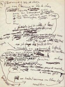Serge-GAINSBOURG-Manuscrit-autographe-original-034-L-homme-a-tete-de-chou-034-1976