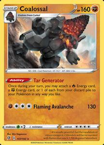 Pokemon Card Coalossal 107//192 Holo Rare Rebel Clash NM//M