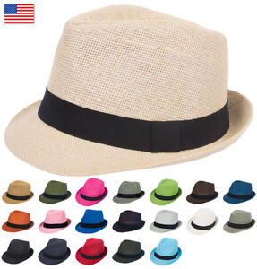e8cb4d7bf6cc Details about Mens Womens Summer Plain Light Paper Straw Fedora Trilby Hat  Hats Gangster Black