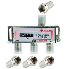 3 vie cavo coassiale 5 - 2450 Mhz ANTENNA TV UHF VHF FM Splitter Segnale Adattatore in metallo NUOVO
