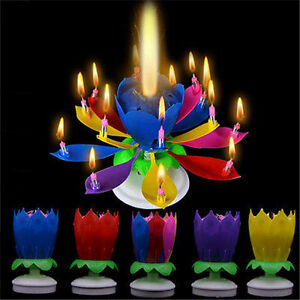 Cake-Topper-Birthday-Lotus-Flower-Decoration-Candle-Blossom-Musical-Rotating-New