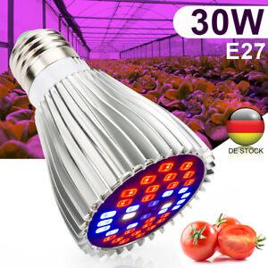 30w Led Wachsen Licht E27 Lampe Fur Pflanzen Hydroponische Uv Ir Full Spectrum Ebay