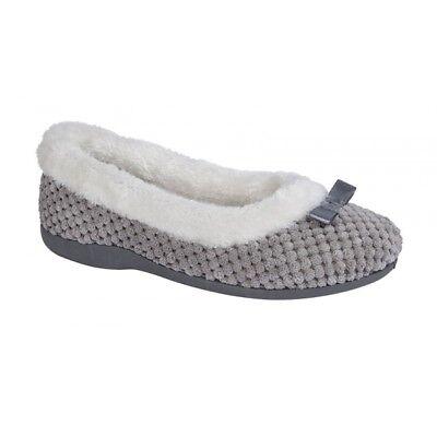 Sleepers KARINA Ladies Womens Soft Warm Faux Fur Lined Ballerina Slippers Navy