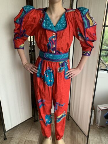 Vintage RARE JEANNE MARC JumpSuit Tea Cup Cotton C