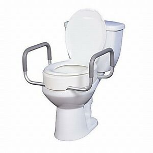 Elevated Raised Toilet Seat Riser With Removable Arms For