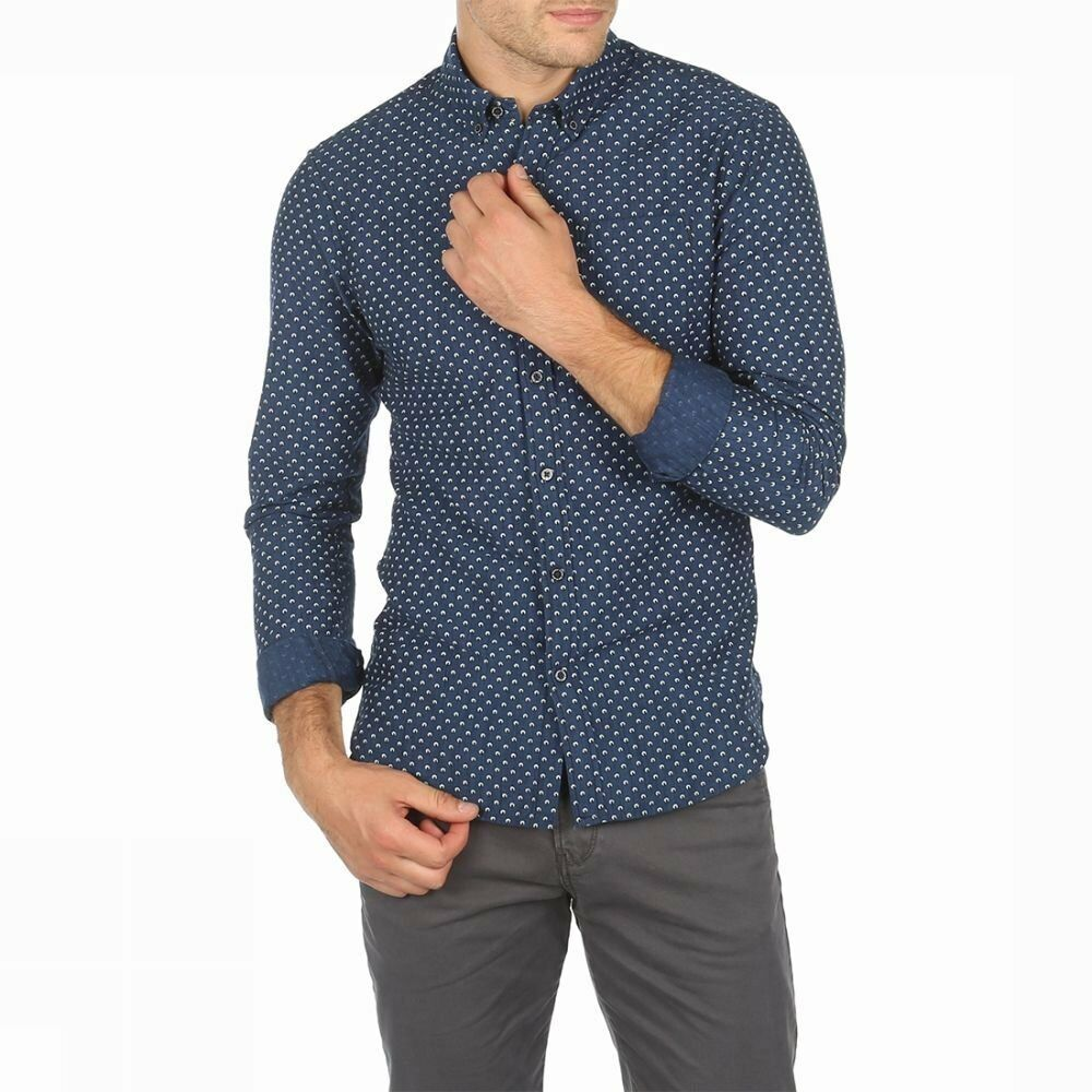 Mens Scotch and Soda slim fit long sleeve printed  shirt blueE 137699
