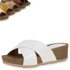 Damen Sandaletten Pantoletten Keilabsatz Schuhe Keilsandaletten 899061 Top