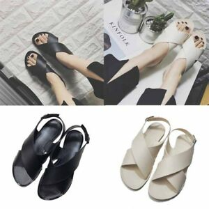 a946671fd84274 Womens Sandals Leather Flat Flip Flop Wedge Shoes Beach Party Prom ...