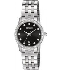 New Citizen Women's Dress Crystal Stainless Steel Watch EU6030-56E