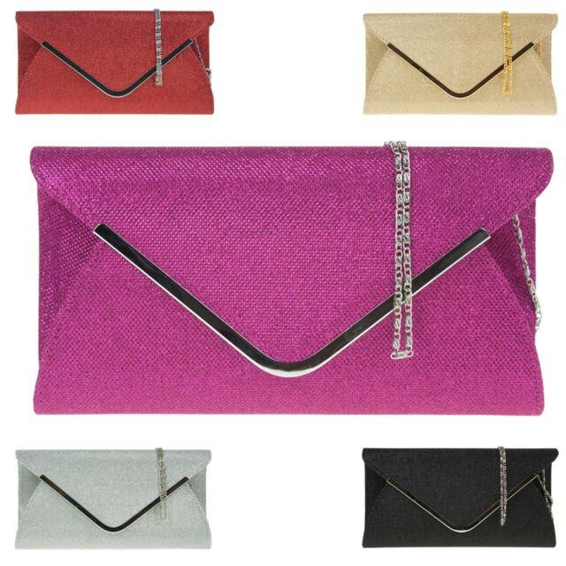 New Glitter Women Clutch Envelope Ladies Evening Bag Designer Bridal Party Prom