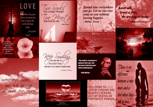 A2 A1 Famous Red Love Quotes Canvas Wall Art Print Picture 100/% cotton A0