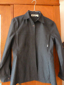 ZIGGY-Designer-Bluse-Gr-38-dunkelblau-Streifen-Stretch-sehr-ausgefallen-gucken